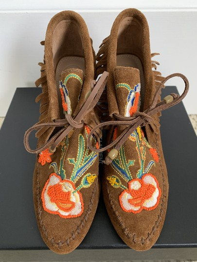 Tory Burch Suede Embroidered Beaded Fringe Brown Boots Image 3