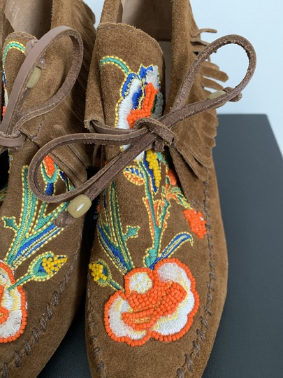Tory Burch Suede Embroidered Beaded Fringe Brown Boots Image 4