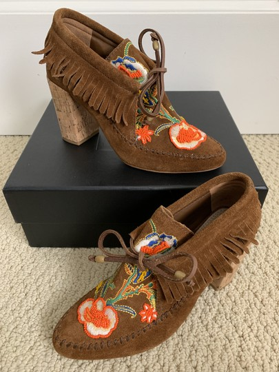 Tory Burch Suede Embroidered Beaded Fringe Brown Boots Image 5