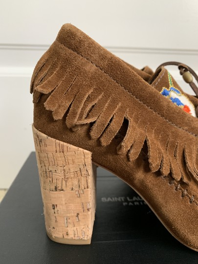 Tory Burch Suede Embroidered Beaded Fringe Brown Boots Image 8