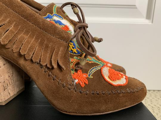 Tory Burch Suede Embroidered Beaded Fringe Brown Boots Image 9