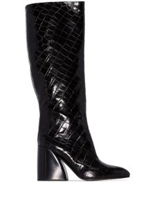 Chloé Wave Croc Knee black Boots