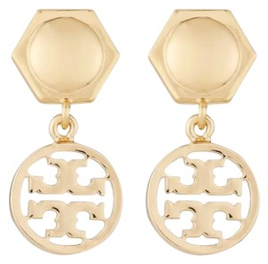 Tory Burch Gold Circle Logo Drop Earrings