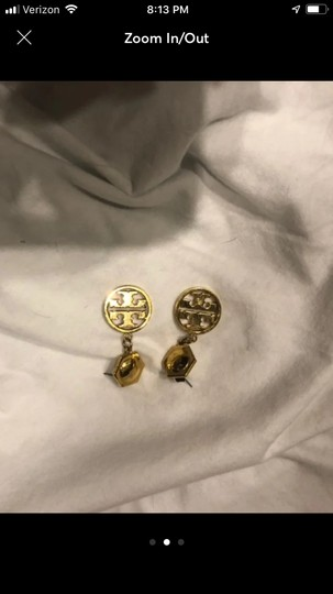 Tory Burch Gold Circle Logo Drop Earrings Image 1