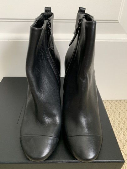 Tory Burch Leather Logo Zip Black Boots Image 2