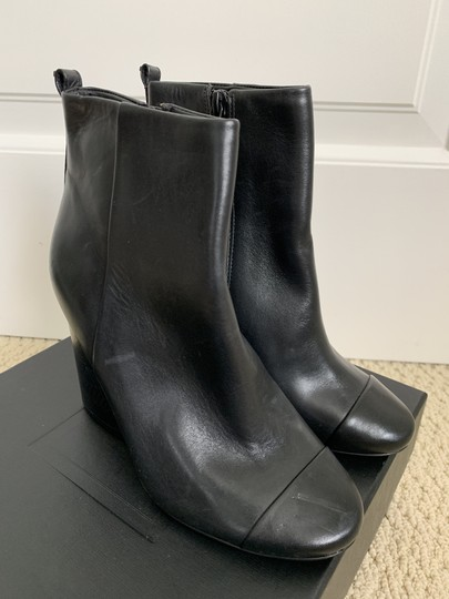 Tory Burch Leather Logo Zip Black Boots Image 3