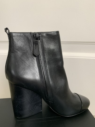 Tory Burch Leather Logo Zip Black Boots Image 4
