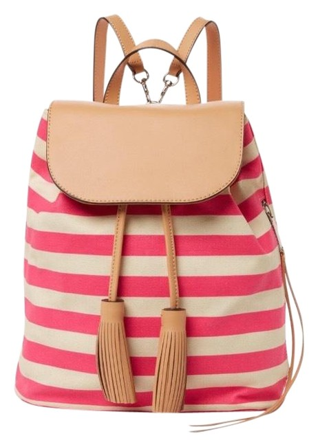 Item - Stripe Moto Pink White Coral Coated Cotton Canvas with Genuine Leather Trim and Flaps. Backpack