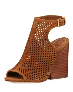 Tory Burch Open Toe Perforated Ankle Strap Brown Boots
