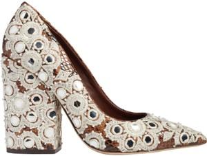 Tory Burch Embroidered Beaded Snakeskin Brown Pumps