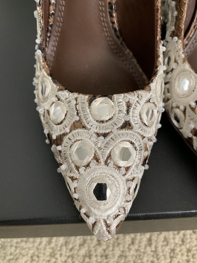 Tory Burch Embroidered Beaded Snakeskin Brown Pumps Image 10