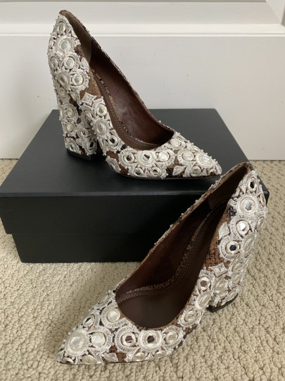 Tory Burch Embroidered Beaded Snakeskin Brown Pumps Image 11