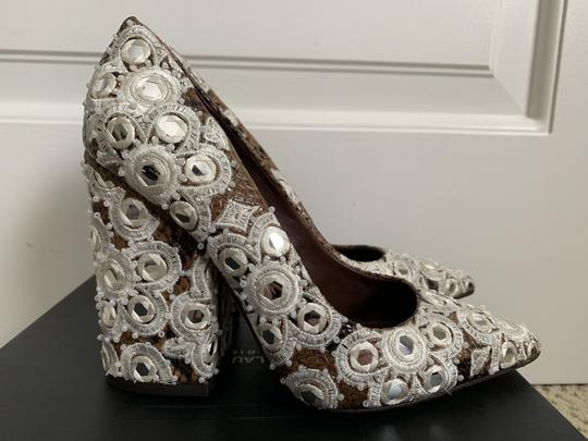 Tory Burch Embroidered Beaded Snakeskin Brown Pumps Image 2