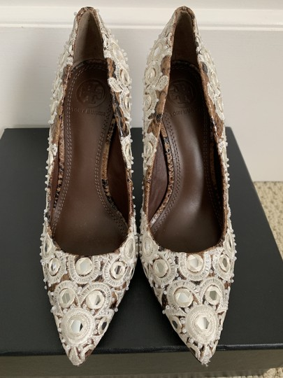 Tory Burch Embroidered Beaded Snakeskin Brown Pumps Image 4