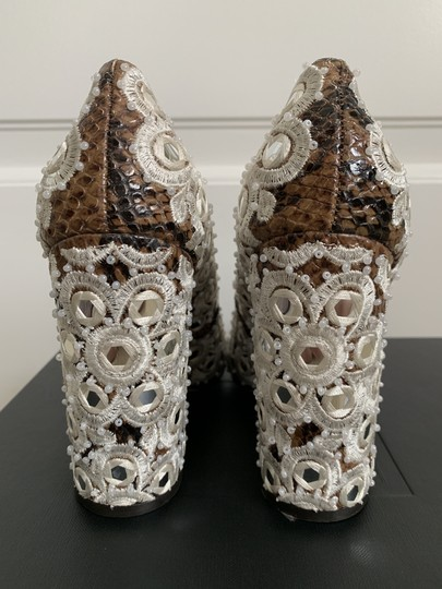 Tory Burch Embroidered Beaded Snakeskin Brown Pumps Image 5