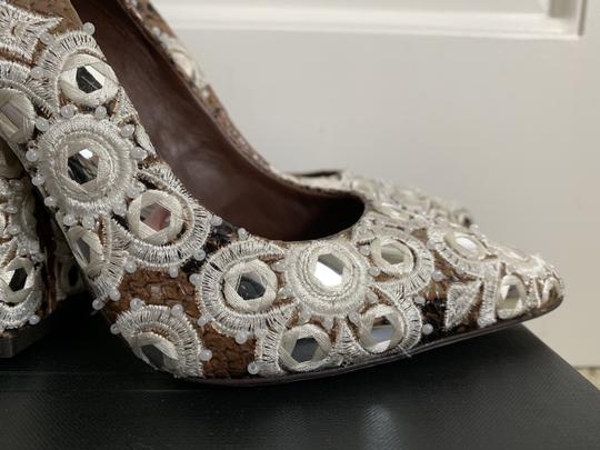 Tory Burch Embroidered Beaded Snakeskin Brown Pumps Image 6