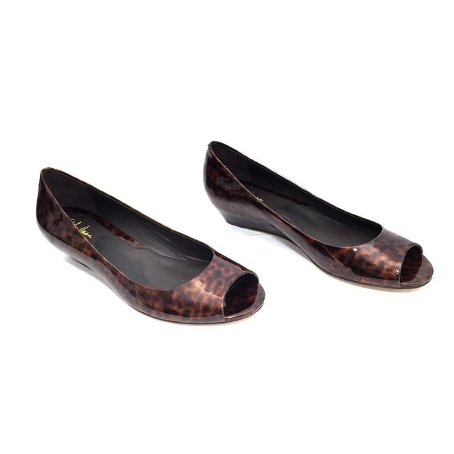 Item - Brown Tortoise Shell Patent Leather Open Toe Wedges Size US 7.5 Regular (M, B)