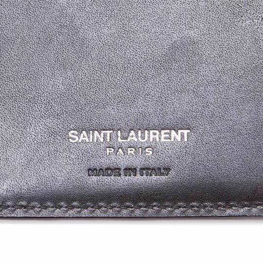 Saint Laurent YSL Black Leather Long Wallet Italy SMALL Image 5
