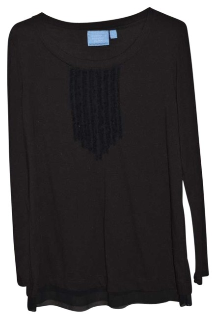 Vera Wang Long Sleeved 'dressy' Size M Nwot T Shirt Black with Ruffles