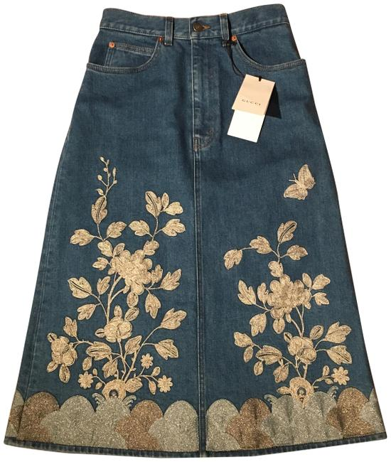 Item - Denim Embroidered Euro 38 New Rare Skirt Size OS (one size)