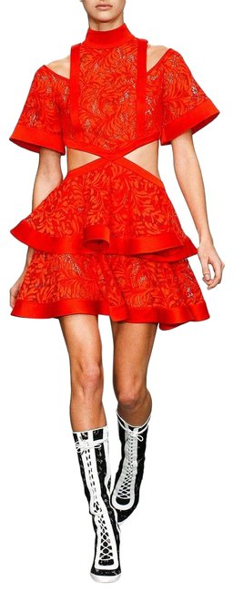 Item - Red Cutout Tiered Layered Lace Mid-length Night Out Dress Size 2 (XS)