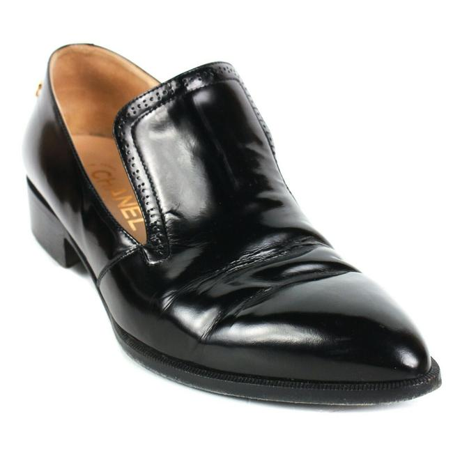 Item - Black Loafers Cc Logo - Patent Leather Heels - 8 Formal Shoes Size EU 38.5 (Approx. US 8.5) Regular (M, B)