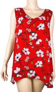 Chelsea & Theodore Floral Sleeveless Hi Lo Top Multi