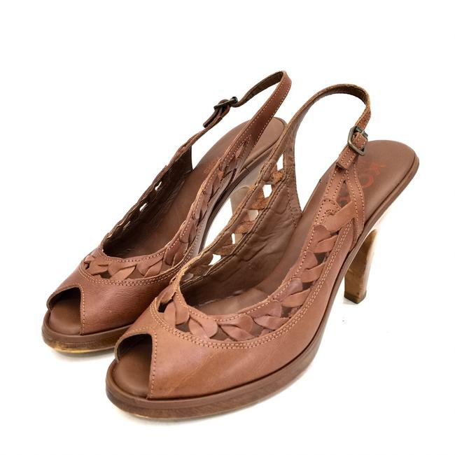Item - Cognac Brown Leather Peep Toe Slingback Platforms Size US 10 Regular (M, B)