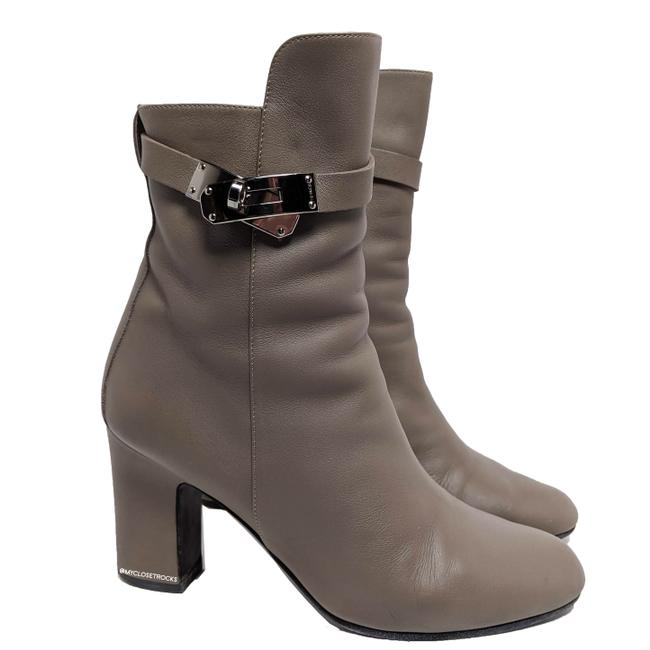 Item - Gray/Tan Kelly Joueuse Taupe Leather Ankle Boots/Booties Size EU 38 (Approx. US 8) Regular (M, B)