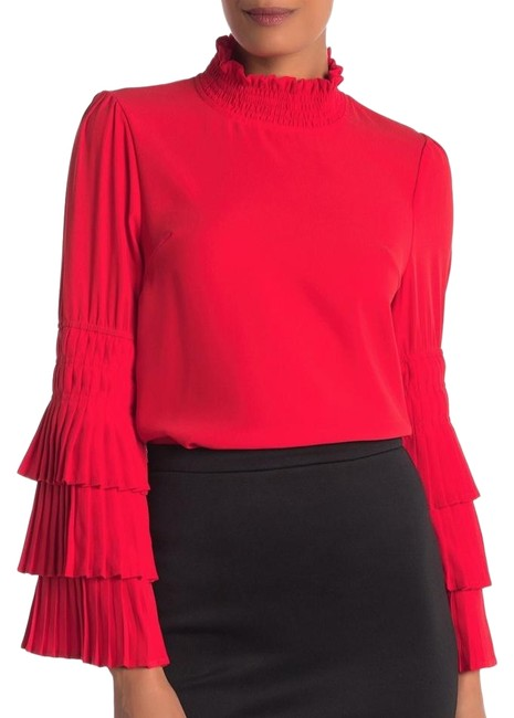 Item - Red Tiered Pleated Bell Sleeve Blouse Size 8 (M)