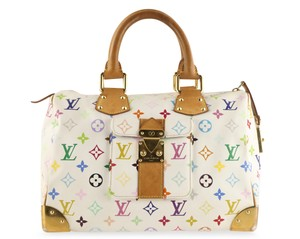 Louis Vuitton Lv Speedy White Monogram Tote in Multicolor