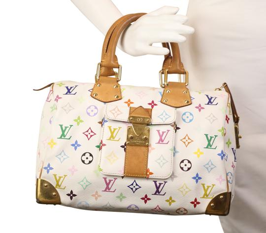 Louis Vuitton Lv Speedy White Monogram Tote in Multicolor Image 11