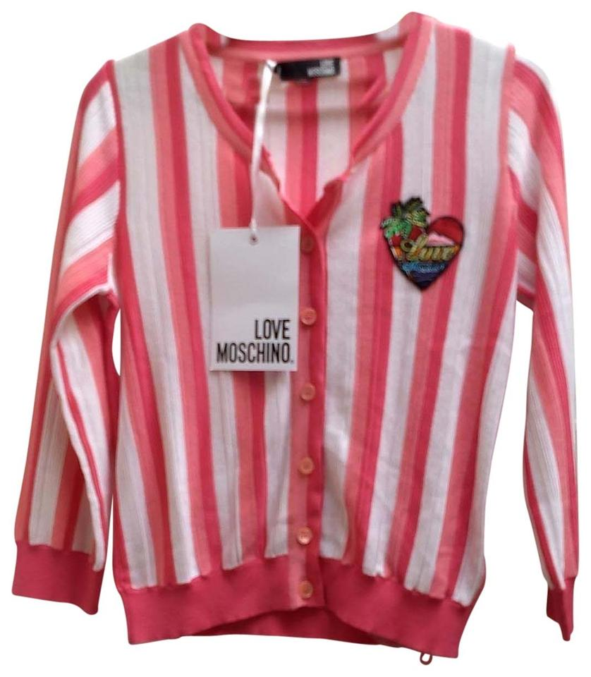 Love Moschino Pink and White Striped Cardigan Size 6 (S) 70% off retail