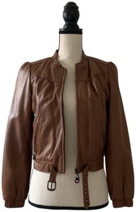 DOMA Belted Cognac Brown Leather Jacket