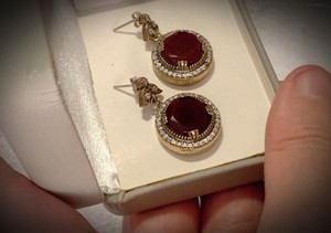 Vintage Exquisite Feminine Ruby Red Solid Sterling Silver .925 Superb Quality Earrings