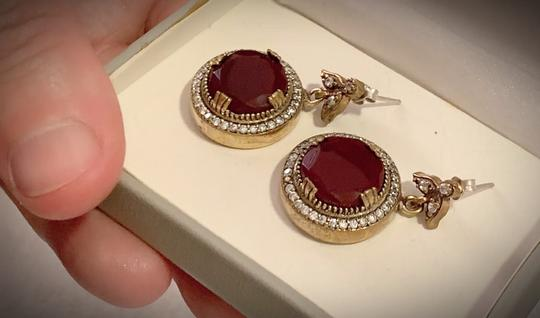 Vintage Exquisite Feminine Ruby Red Solid Sterling Silver .925 Superb Quality Earrings Image 3