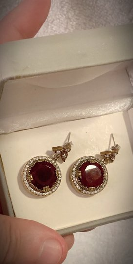 Vintage Exquisite Feminine Ruby Red Solid Sterling Silver .925 Superb Quality Earrings Image 5