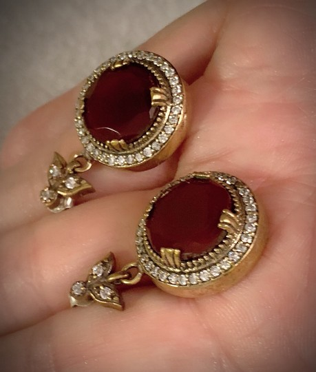 Vintage Exquisite Feminine Ruby Red Solid Sterling Silver .925 Superb Quality Earrings Image 6