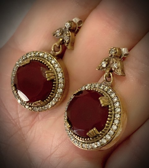 Vintage Exquisite Feminine Ruby Red Solid Sterling Silver .925 Superb Quality Earrings Image 8