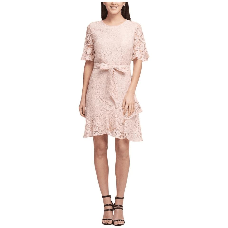 Dkny Pink Lace Cotton Nude New Mid Length Short Casual Dress Size 2 Xs