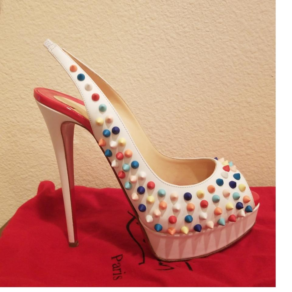 new concept 5a170 d7dc4 Christian Louboutin White Colored Spikes Lady Peep Sling 150 Gomme  Platforms Size EU 39 (Approx. US 9) Regular (M, B)