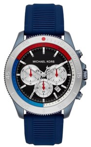 Michael Kors NEW Theroux Chronograph Navy Stainless Steel Watch MK8708