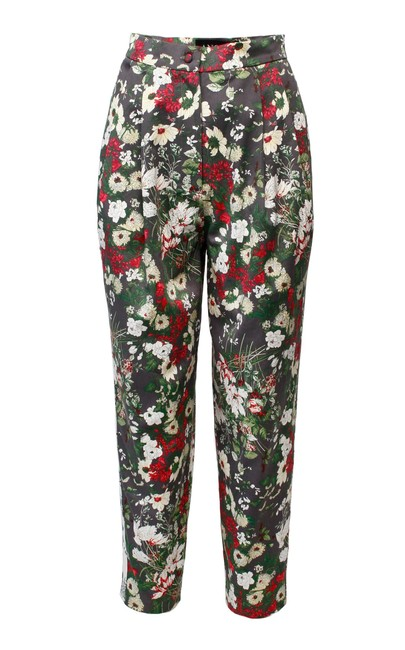 Item - Multiple Floral Print Pleated Tapered Leg Pants Size 2 (XS, 26)