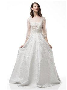AG White/Silver Jacquard Gown Modest Wedding Dress Size 6 (S)