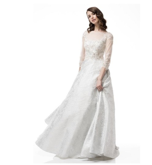 AG White/Silver Jacquard Gown Modest Wedding Dress Size 6 (S) Image 2