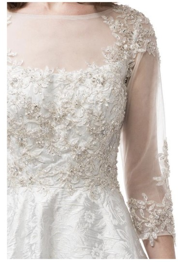 AG White/Silver Jacquard Gown Modest Wedding Dress Size 6 (S) Image 5