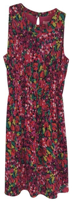 Item - Multicolored Floral (Hot Pink White Navy Green Yellow) 38299 Short Night Out Dress Size 14 (L)