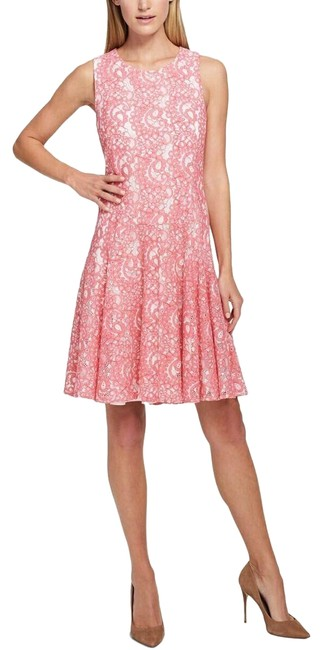 Item - Pink Lace Overlay White Floral New Short Cocktail Dress Size 16 (XL, Plus 0x)