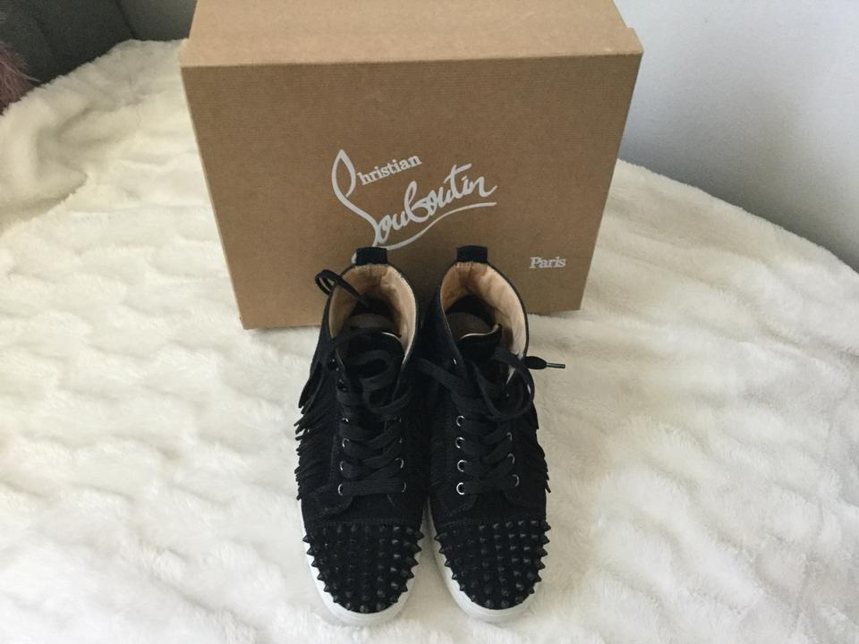 on sale 77eee 83b59 Christian Louboutin Black Spike Redbottoms Fringe Suede Sneakers Size US 7  Regular (M, B) 39% off retail