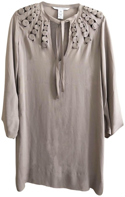 Item - Taupe Dvf Mid-length Short Casual Dress Size 4 (S)
